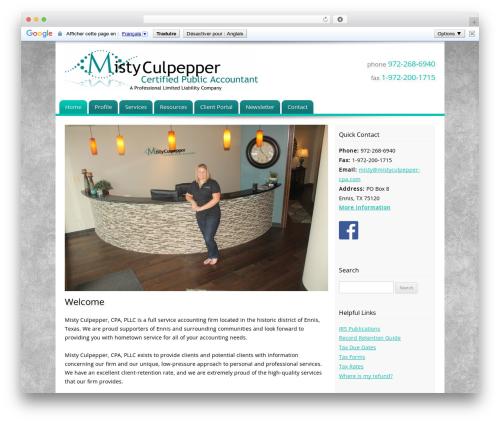 Customized business WordPress theme - mistyculpeppercpa.com