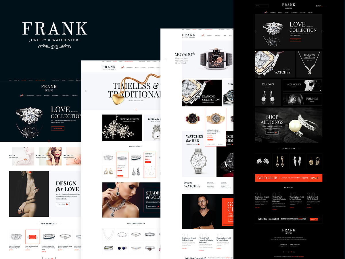 Frank Jewelry Store WordPress ecommerce template