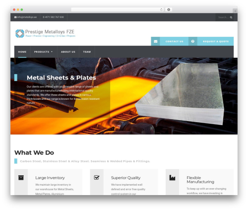WP Industry Child Theme WordPress page template - metalloys.ae