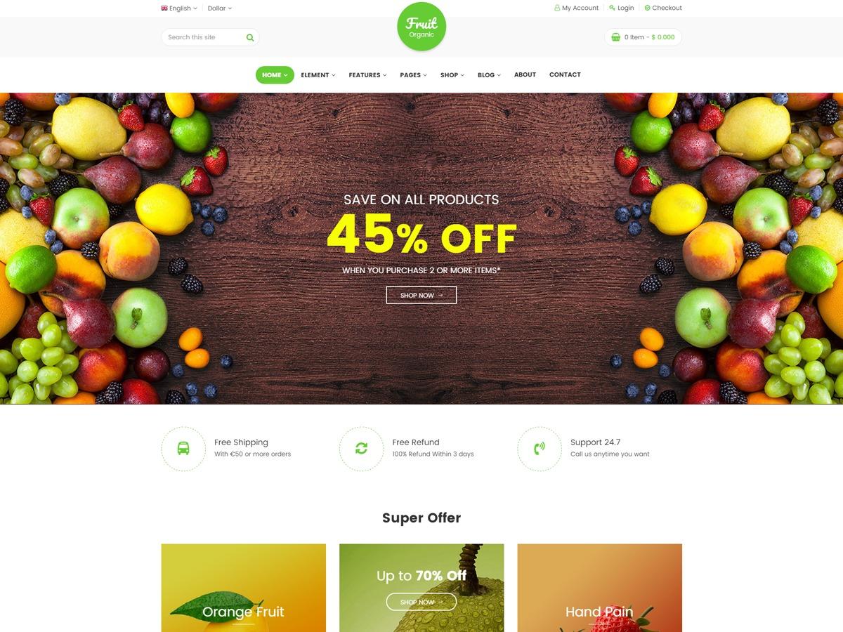 Fruitshop WordPress ecommerce theme