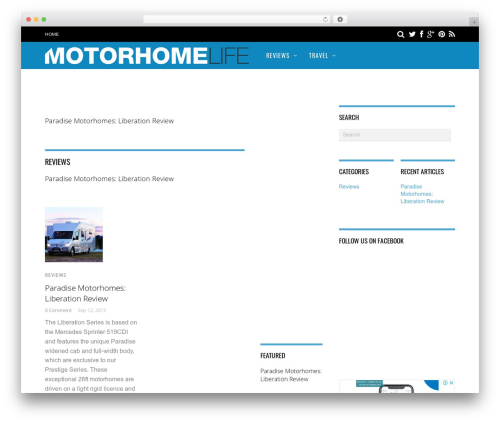 Magazine WordPress news template - motorhomelife.com.au