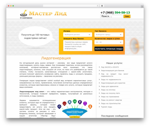 WP template Striking - master-lead.ru