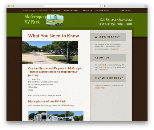 Theme WordPress Genesis - mcgregorrvpark.com