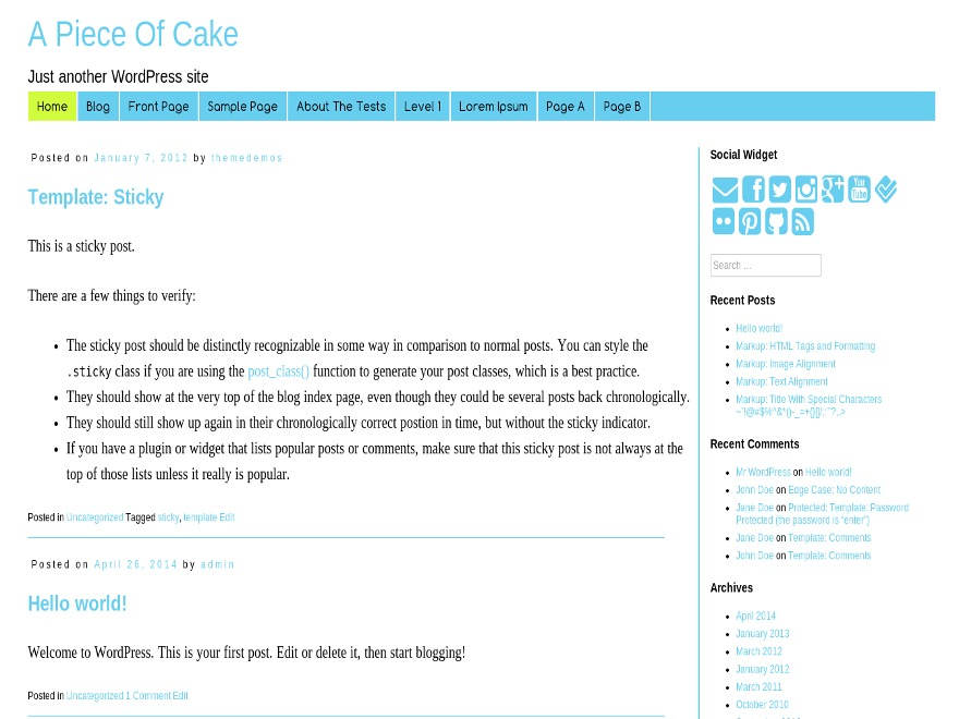 A Piece Of Cake theme WordPress