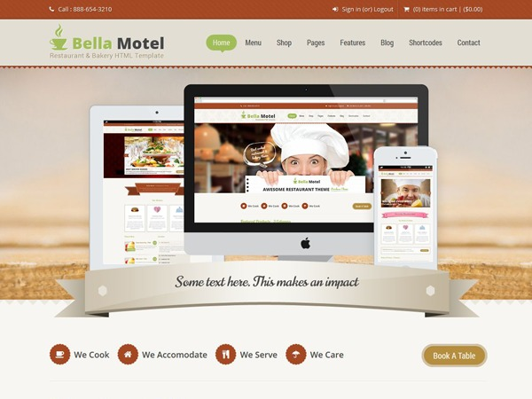 Bella Motel (shared on wplocker.com) best restaurant WordPress theme