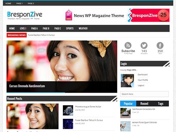 BresponZive Pro WordPress news theme