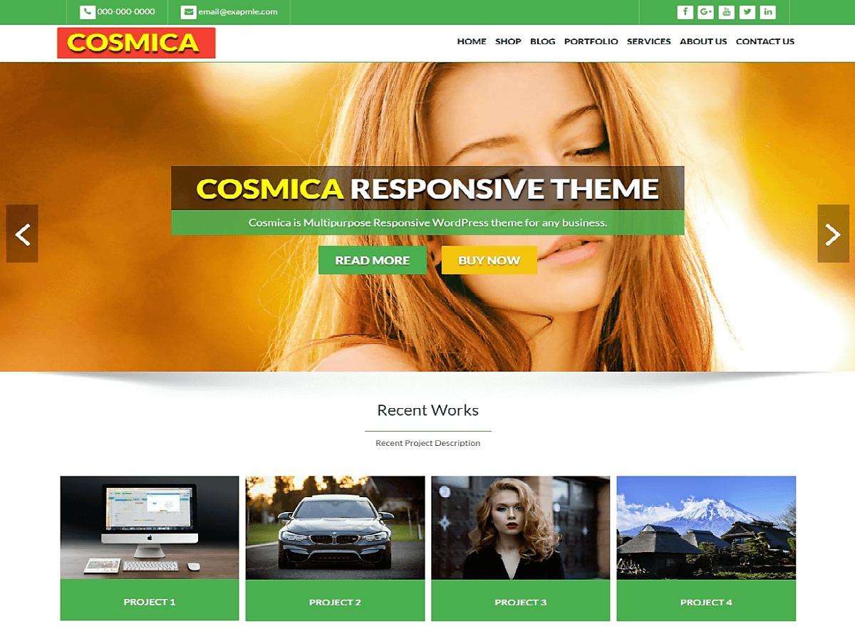 Cosmica Green best portfolio WordPress theme