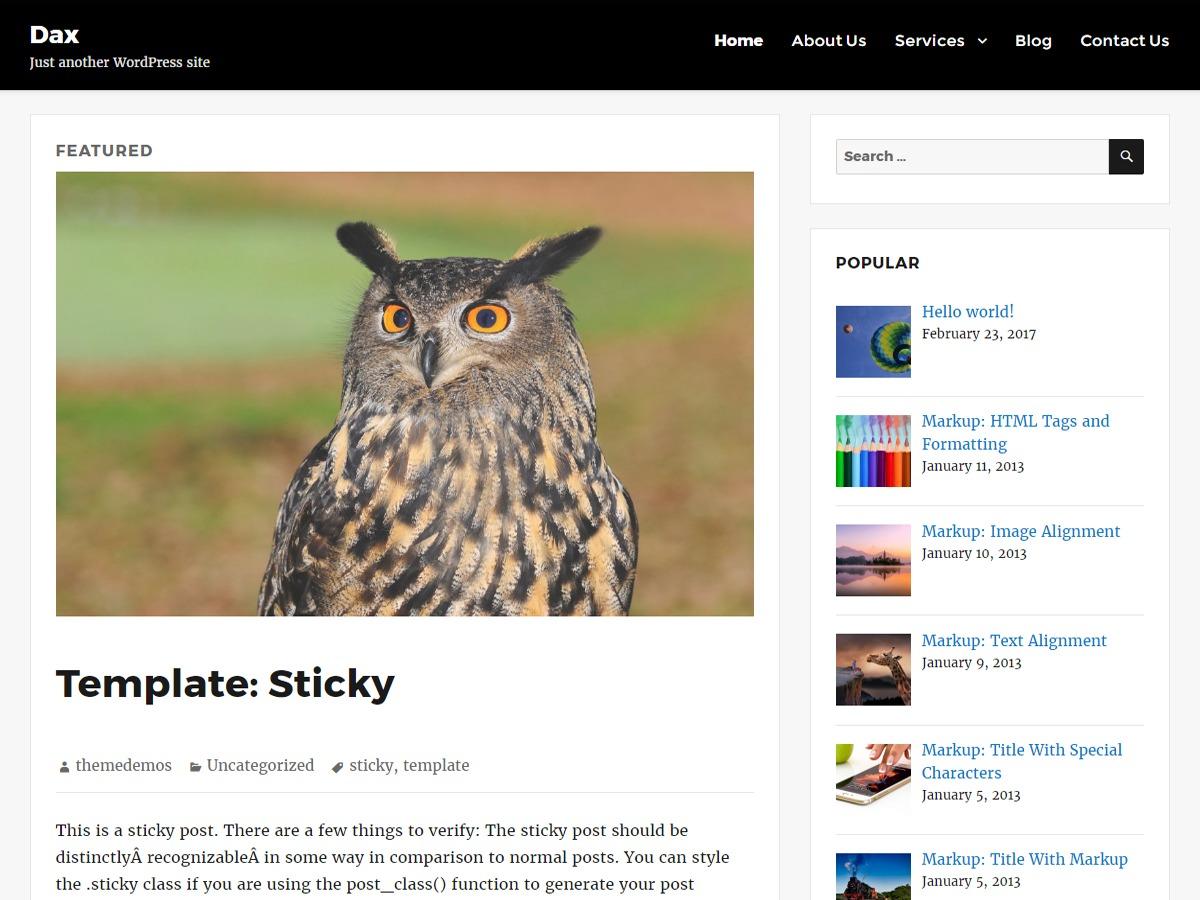 dax template WordPress free