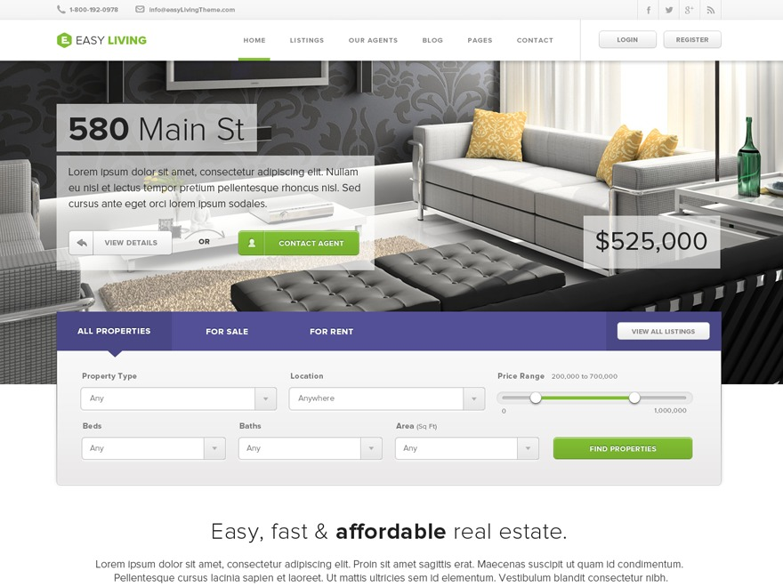 Easy Living WordPress real estate