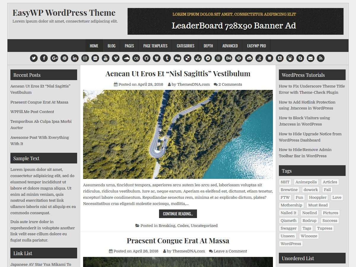 EasyWP free website theme