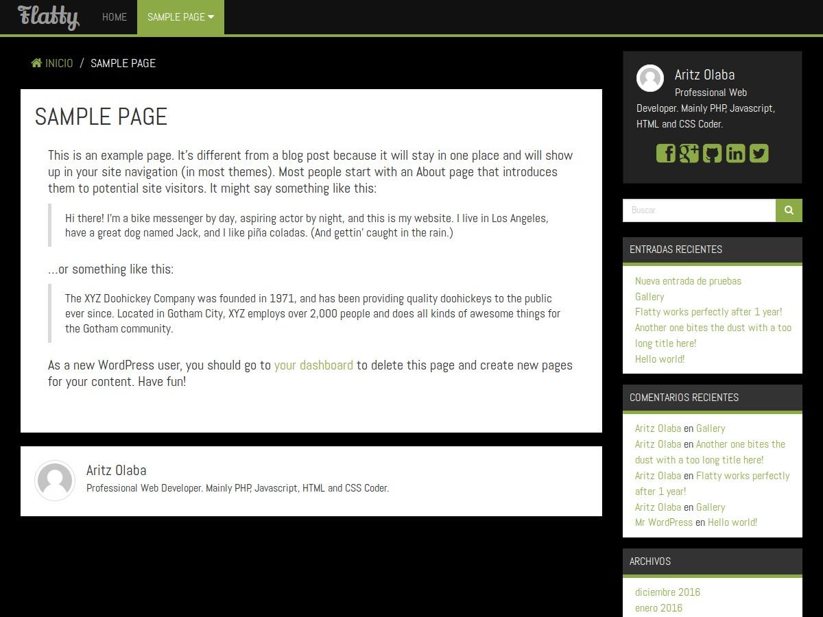 Flatty WordPress template for photographers