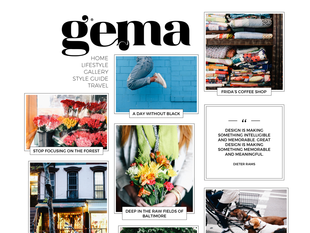 Gema WordPress theme design