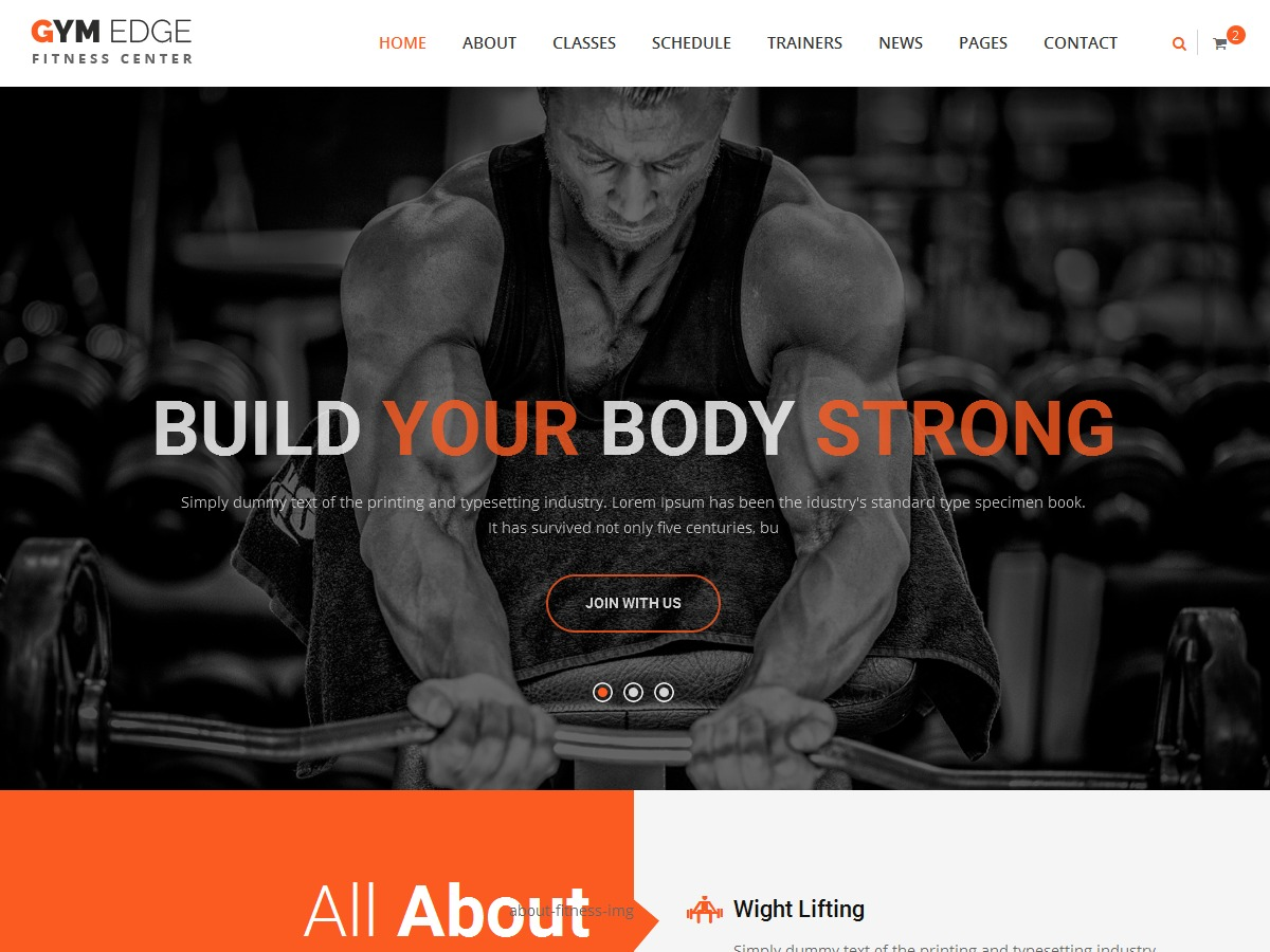 GymEdge Child Theme fitness WordPress theme
