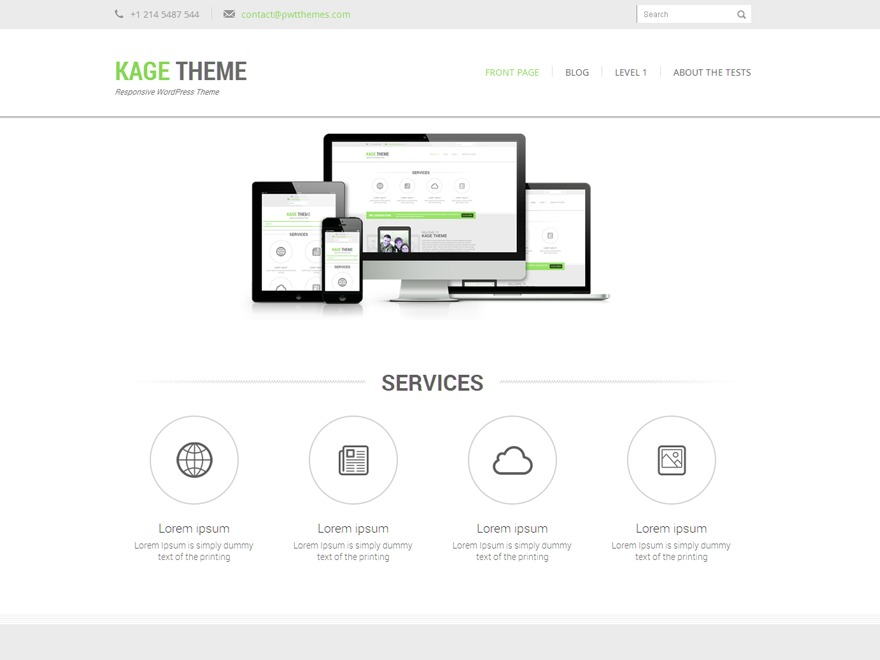 Kage Green company WordPress theme
