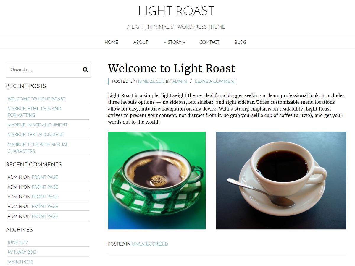 Light Roast free website theme
