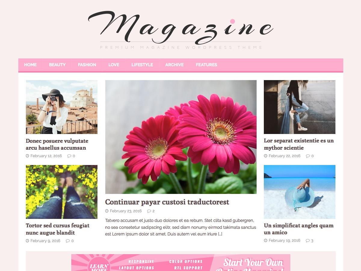 MH FeminineMag WordPress blog template