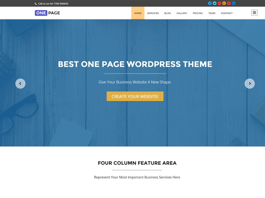 One Page Pro WordPress template for business