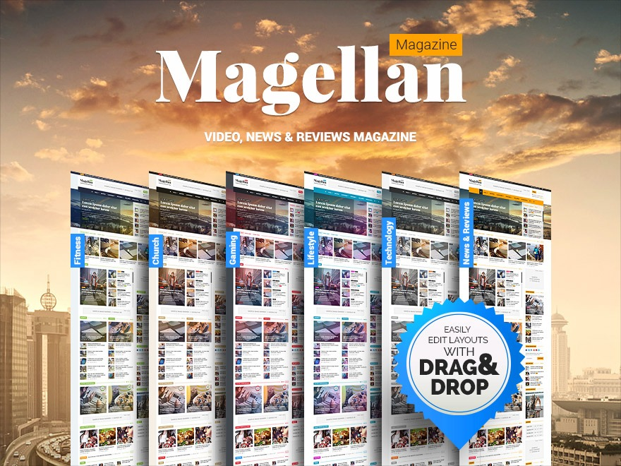 Planetshine Magellan WordPress news template