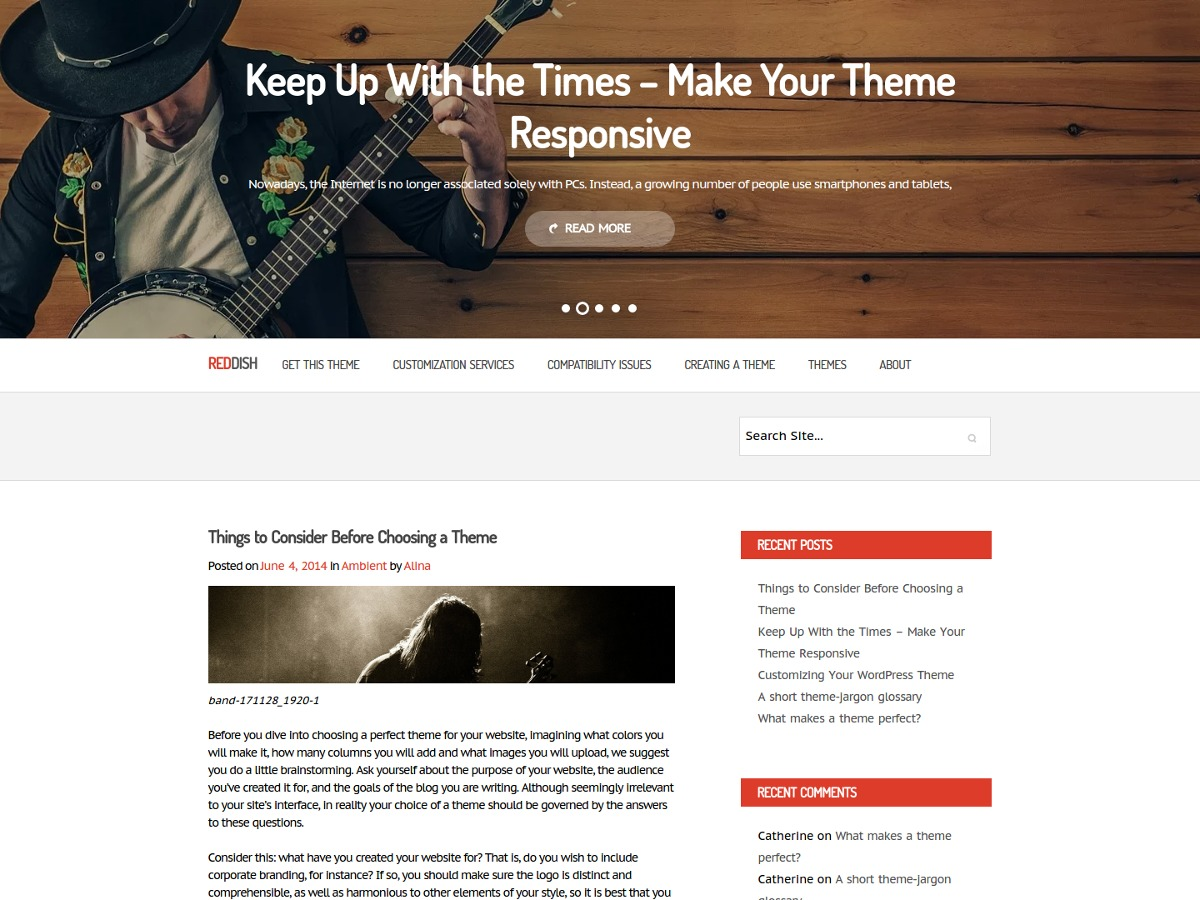 Reddish template WordPress free