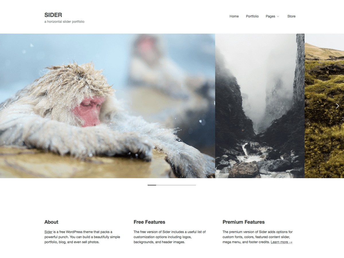 Sider theme WordPress portfolio
