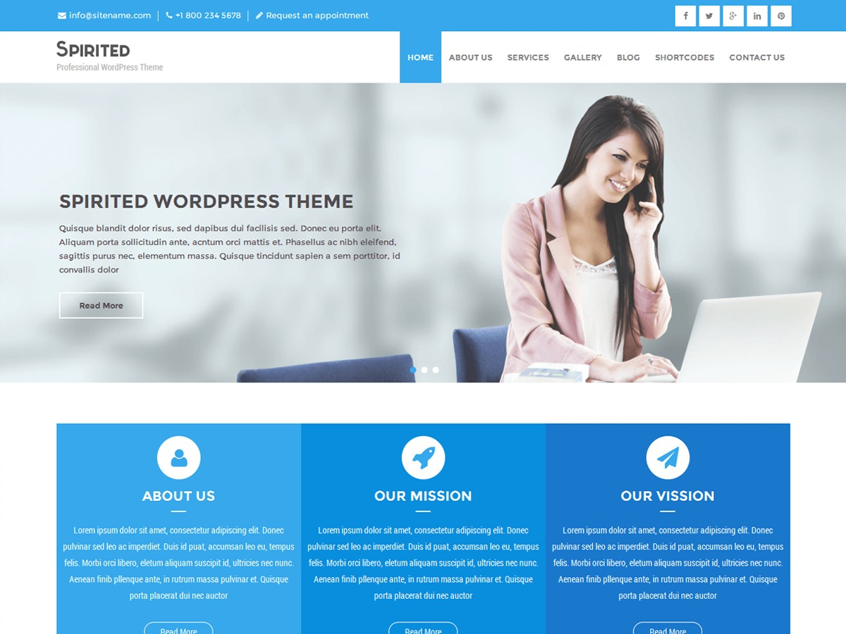 Spirited Lite WordPress shop theme