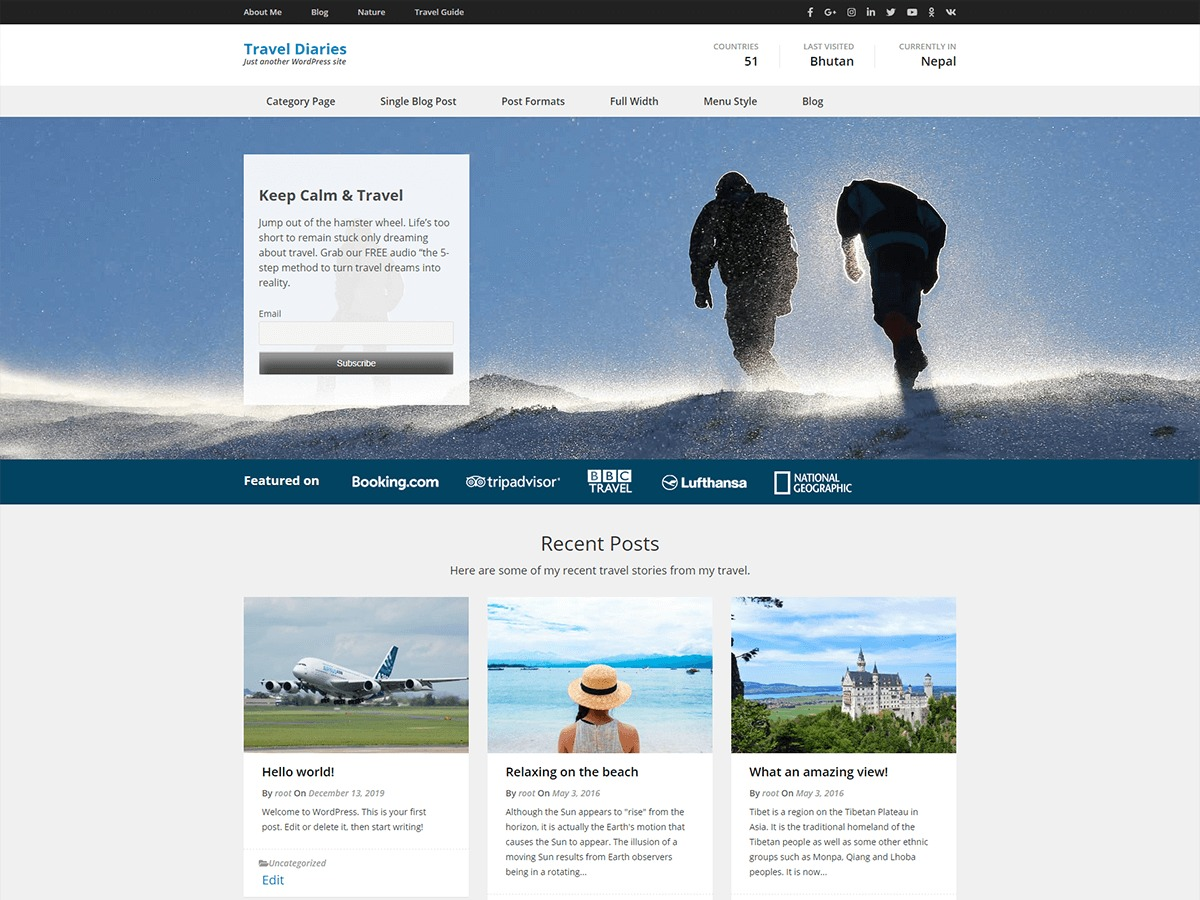 Travel Diaries WordPress theme download