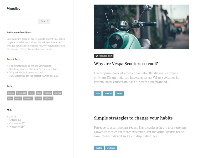Woodley WordPress theme