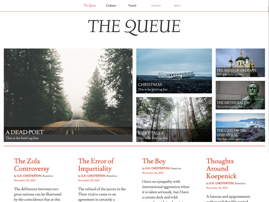 WordPress theme Queue
