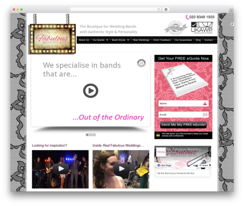 Bellissima best wedding WordPress theme - myfabulousweddingband.co.uk