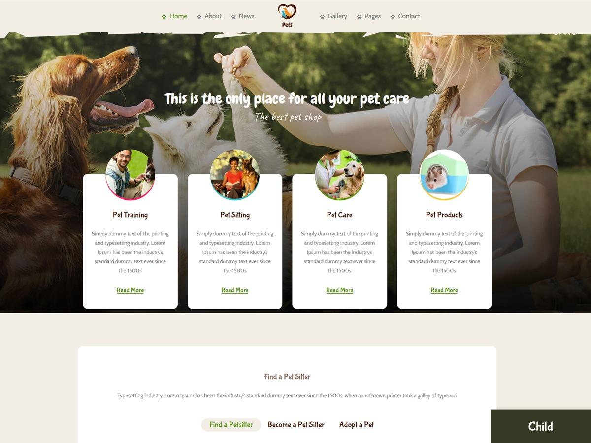 Best WordPress theme PetsWorld Child