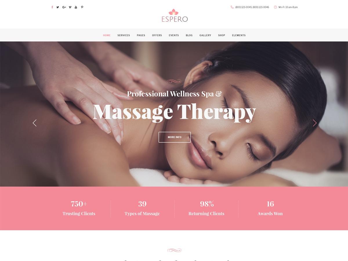 Espero massage WordPress theme