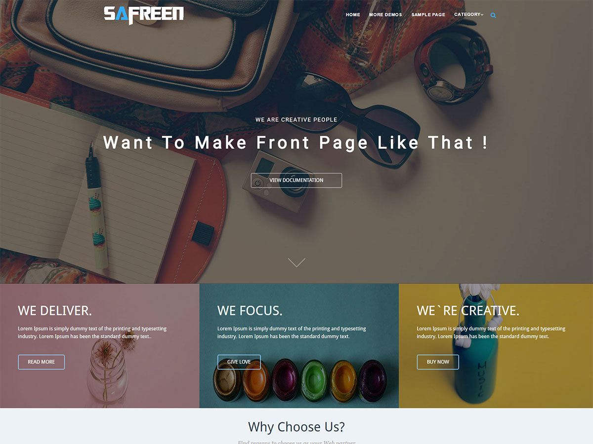 Safreen Pro WP landing page