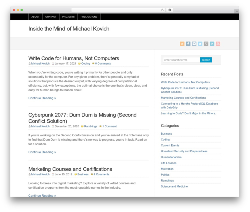 WP theme WP-Brilliance - michaelkovich.com/blog