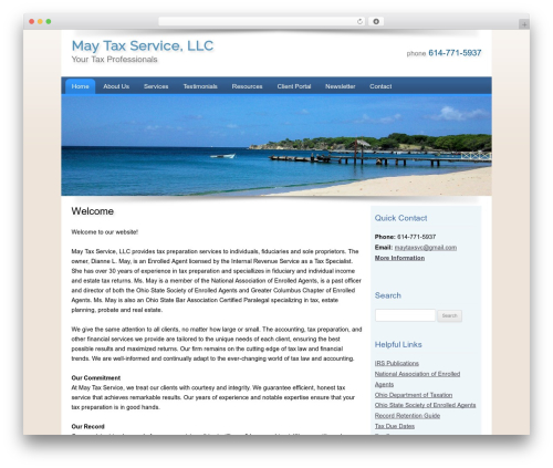 Customized WordPress page template - maytaxsvc.com