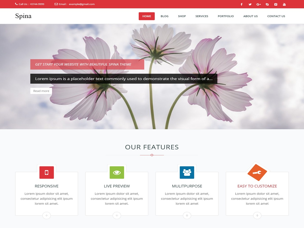 Spina WordPress template free