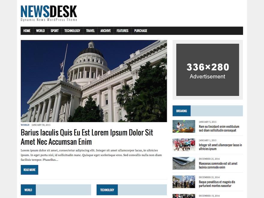 MH Newsdesk lite best WordPress magazine theme