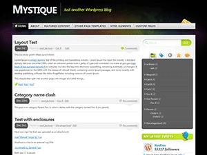 Mystique WordPress page template