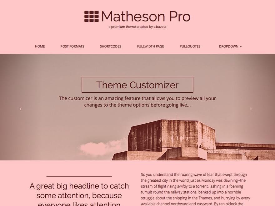 Matheson Pro WordPress template for photographers