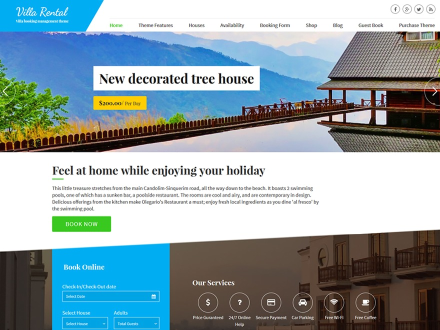 Villa Rental theme WordPress