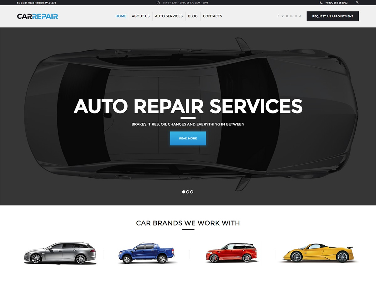 WordPress website template CarRepair