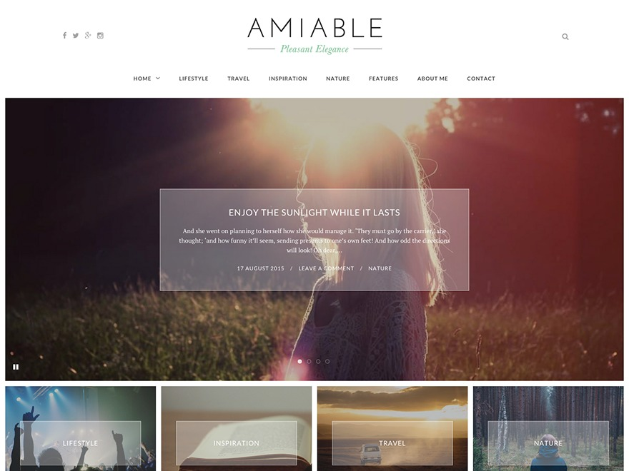 Amiable WordPress blog template