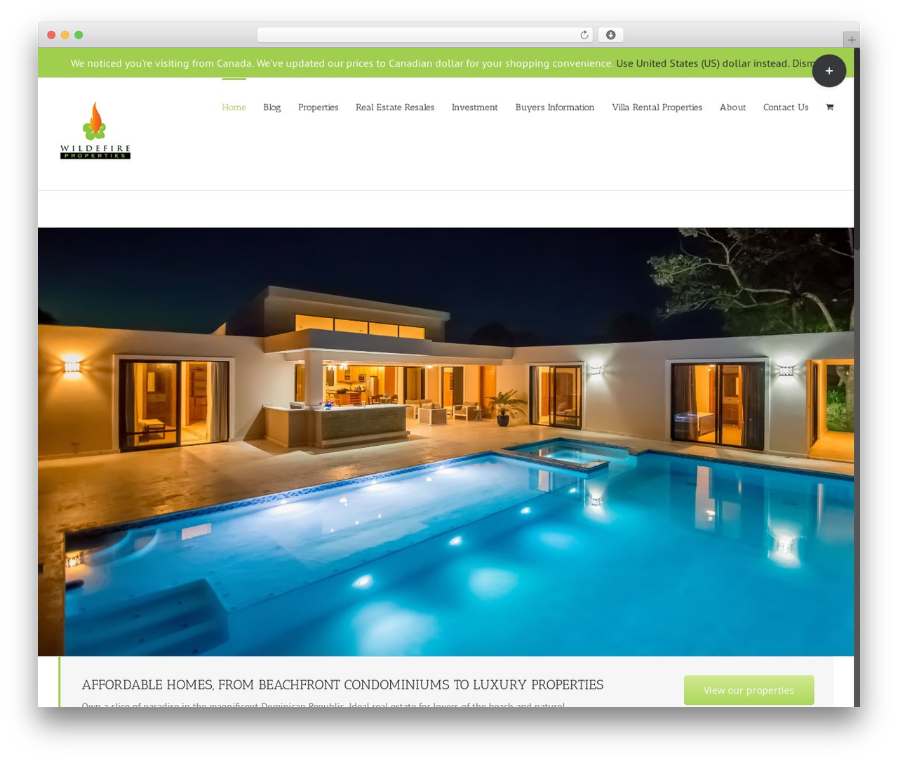 Avada real estate template WordPress - wildefire.co