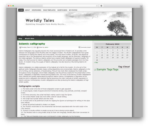 Best WordPress template Lonelytree - worldlytales.com