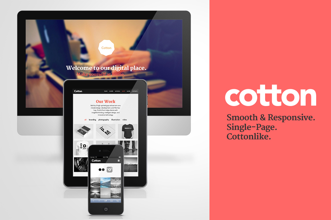 Cotton WordPress page template