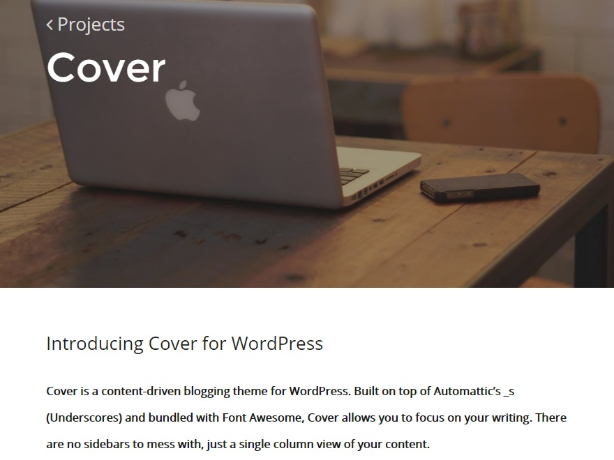 Cover WordPress blog template