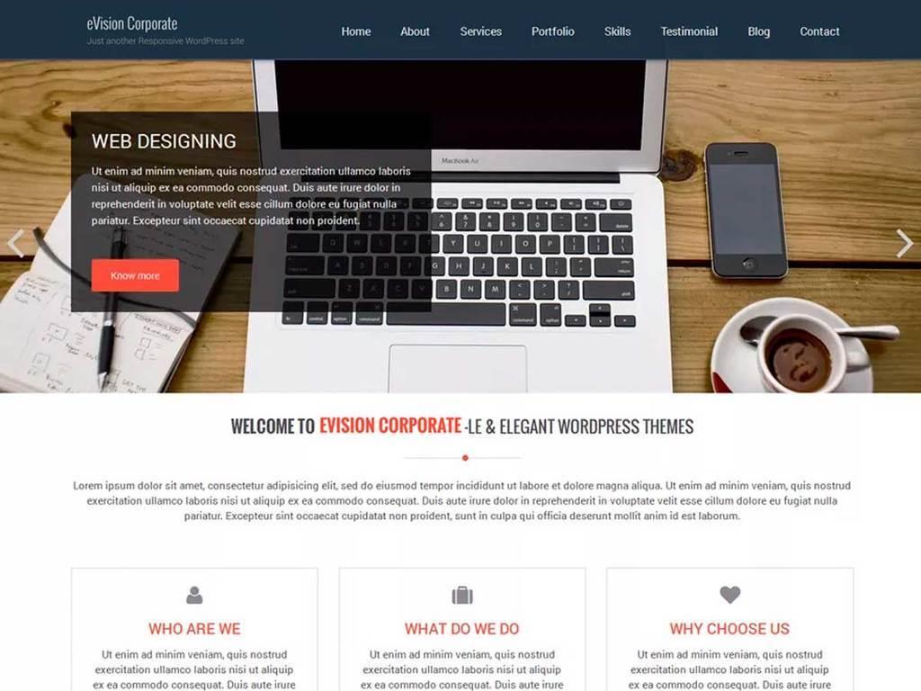 eVision Corporate WordPress portfolio theme