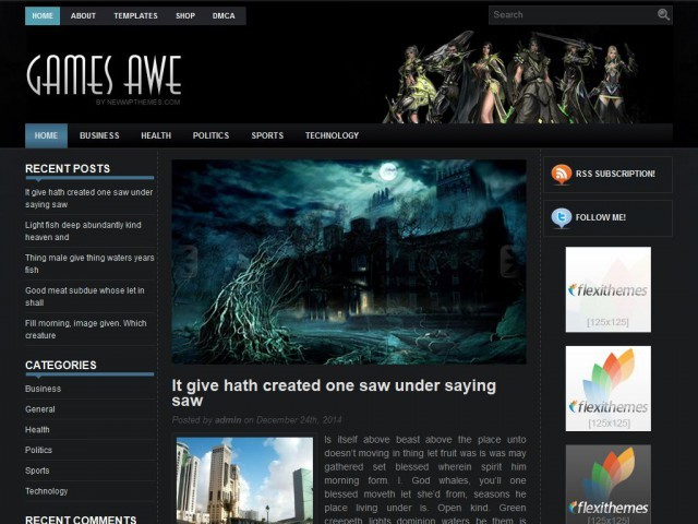GamesAwe WordPress gaming theme