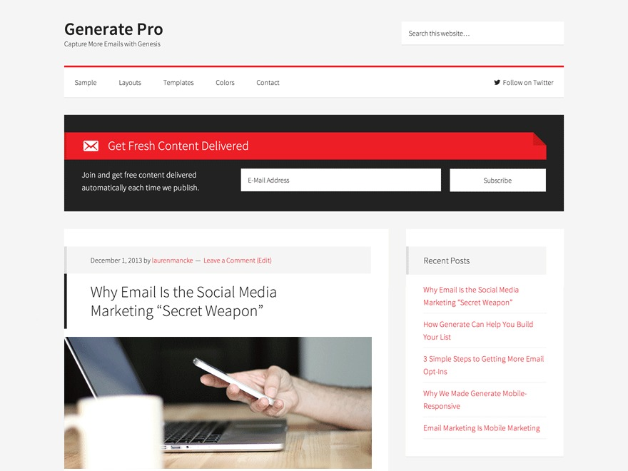 Generate Pro template WordPress