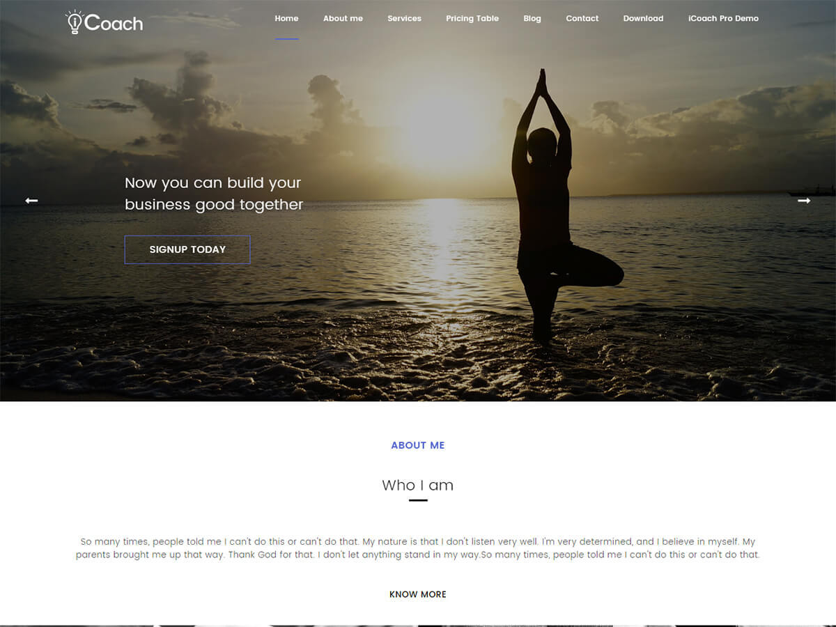 iCoach template WordPress free