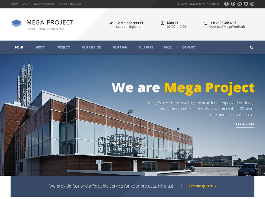 Mega Project WordPress template